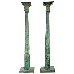 Pair of 19th Century Hand Carved Indonesian Teak Columns with Original Paint