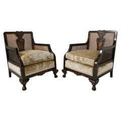 Pair of 19th Century Hand-Painted Ebonized Chinoiserie Chairs