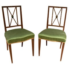 Pair of 19th Century Hand Painted English Silk Upholstered Chairs