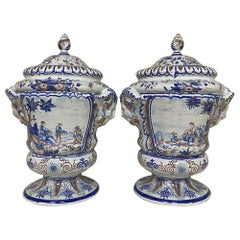 Pair of 19th Century Hand Painted Faience Lidded Urns