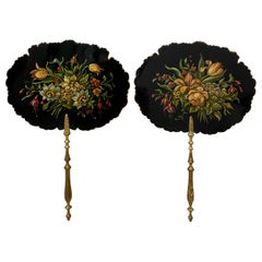 Pair of 19th Century Hand Painted Floral Bouquet Fixed Fans