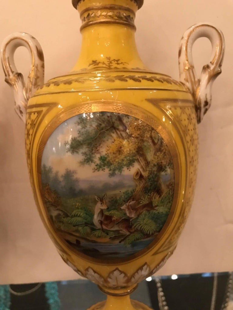 Louis XV Pair of 19th Century Hand Painted French Porcelain Lidded Urns For Sale