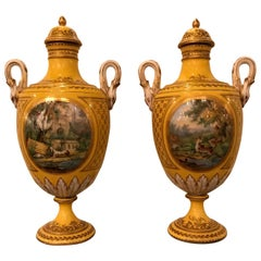 Pair of 19th Century Hand Painted French Porcelain Lidded Urns