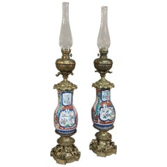 Pair of 19th Century Hand Painted Porcelain and Bronze Oil Lanterns