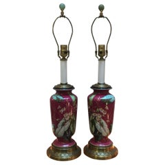 Pair of 19th Century Hand Painted Porcelain Lamps