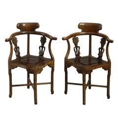 Pair of 19th Century Hardwood Corner Armchairs