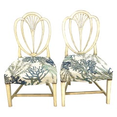 Pair of 19th Century Hepplewhite Arched Back Side Chairs