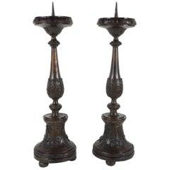 Pair of 19th Century Hollow Cast Bronze Austrian Pricket Candlesticks