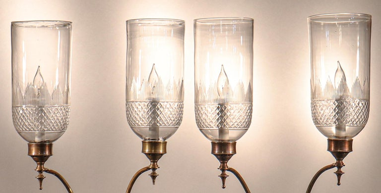 High Victorian Pair of 19th Century Hurricane Shade Double-Arm Wall Sconces For Sale