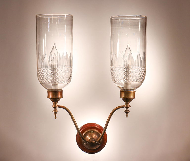 English Pair of 19th Century Hurricane Shade Double-Arm Wall Sconces For Sale