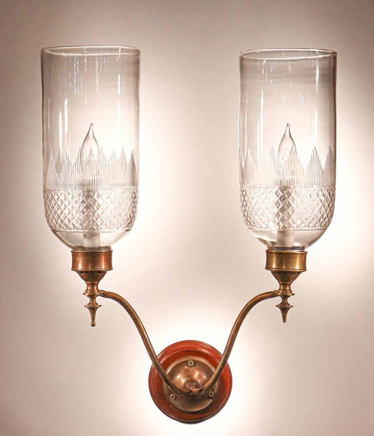 Etched Pair of 19th Century Hurricane Shade Double-Arm Wall Sconces For Sale