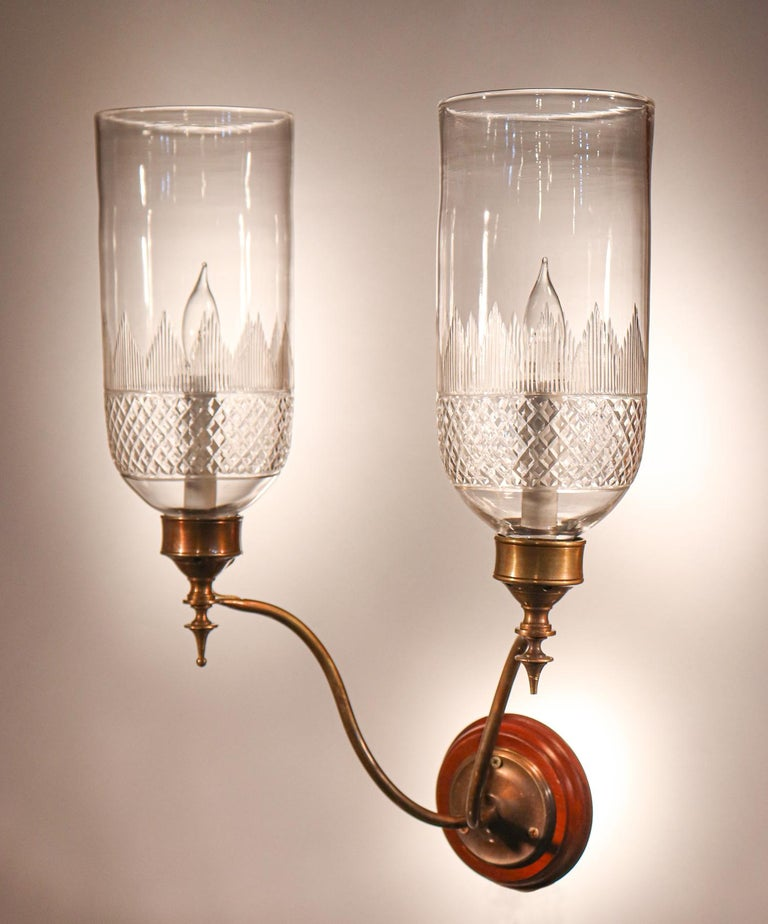 Pair of 19th Century Hurricane Shade Double-Arm Wall Sconces In Good Condition For Sale In Heath, MA