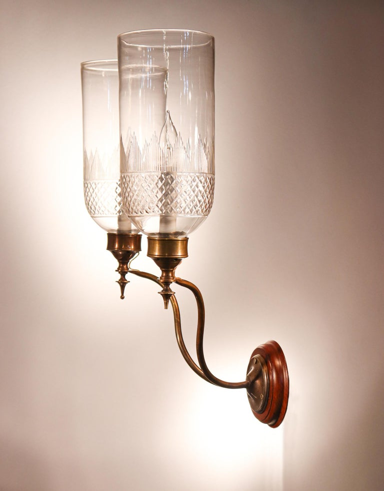 Brass Pair of 19th Century Hurricane Shade Double-Arm Wall Sconces For Sale