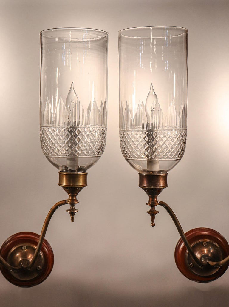 Pair of 19th Century Hurricane Shade Double-Arm Wall Sconces For Sale 1