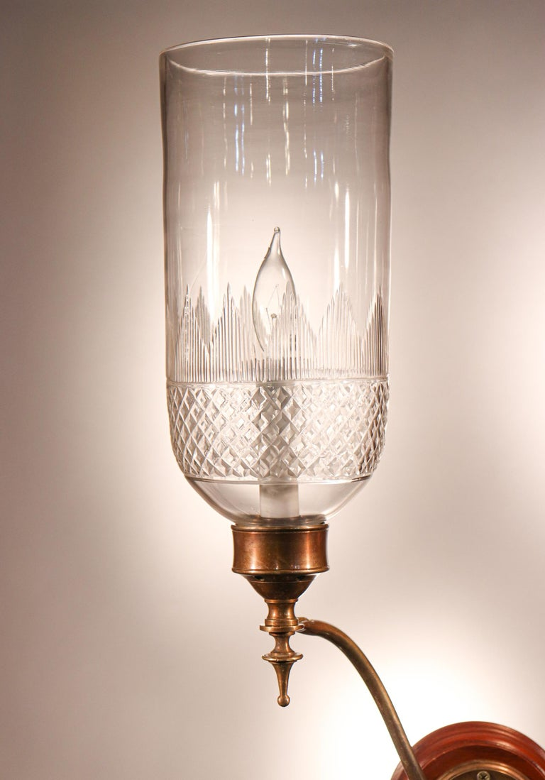 Pair of 19th Century Hurricane Shade Double-Arm Wall Sconces For Sale 2