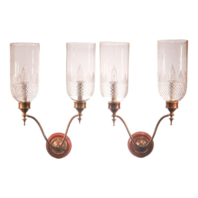 Pair of 19th Century Hurricane Shade Double-Arm Wall Sconces For Sale