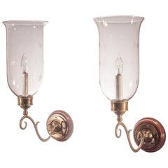 Pair of Antique Hurricane Shade Wall Sconces with Etched Stars