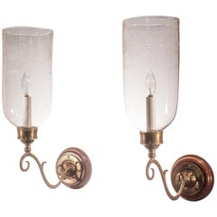 Pair of Antique Hurricane Shade Sconces with Floral Etching