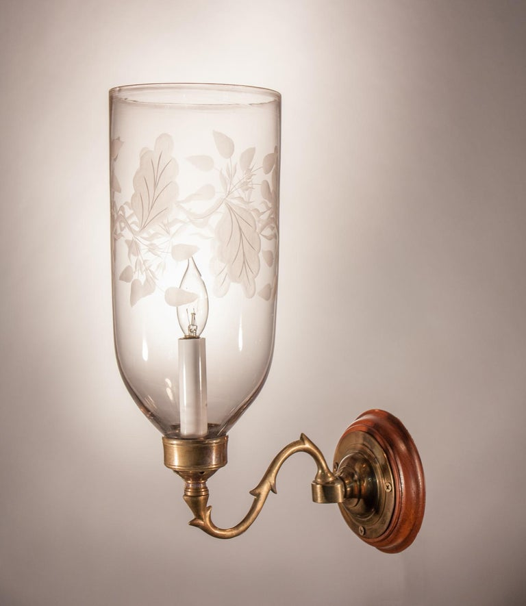 Pair of Hurricane Shade Wall Sconces with Frosted Leaf Etching In Good Condition For Sale In Shelburne Falls, MA