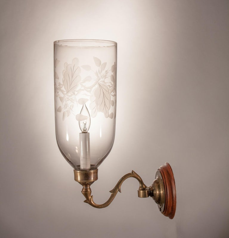 Late 19th Century Pair of Hurricane Shade Wall Sconces with Frosted Leaf Etching For Sale
