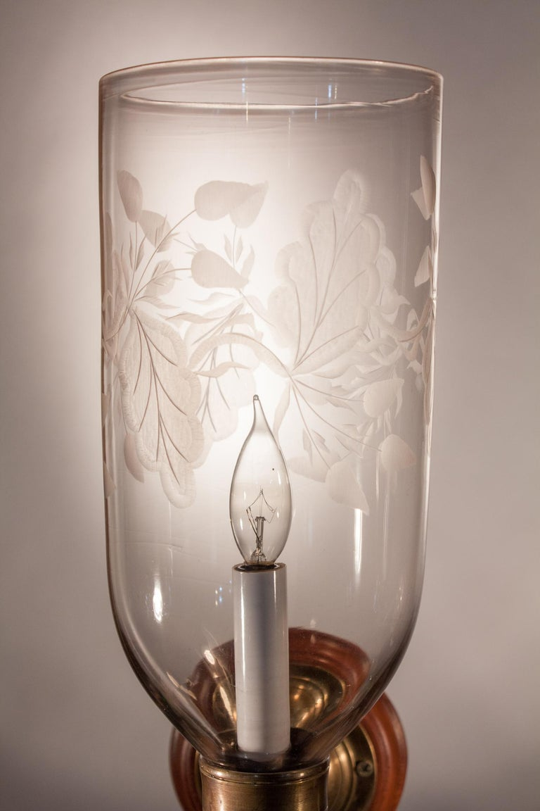 Pair of Hurricane Shade Wall Sconces with Frosted Leaf Etching For Sale 1