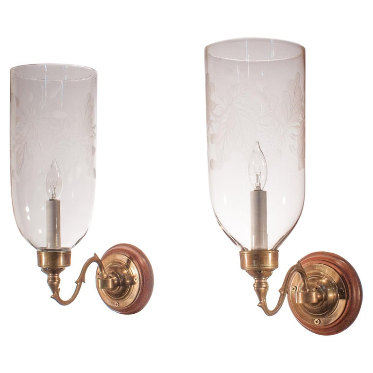 Pair of Hurricane Shade Wall Sconces with Frosted Leaf Etching For Sale