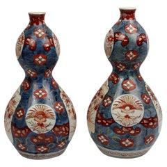 Pair of 19th Century Imari Double Gourd Vases