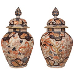 Pair of 19th Century Imari Lidded Urns