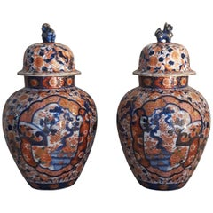 Pair of 19th Century Imari Lided Vases