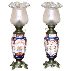 Pair of 19th Century Imari Napoleon III Period Oil Lanterns