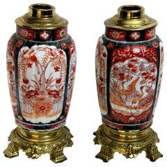 Pair of 19th Century Imari Vase Lamps