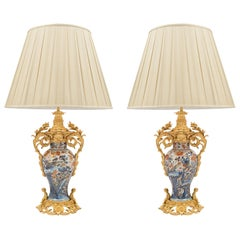 Pair of 19th Century Imari Vases with French Ormolu Mounts Made into Lamps