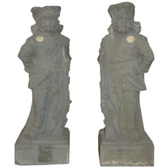 Pair of 19th Century Indian Hand-Carved Grey Stone Soldier Temple Sculptures