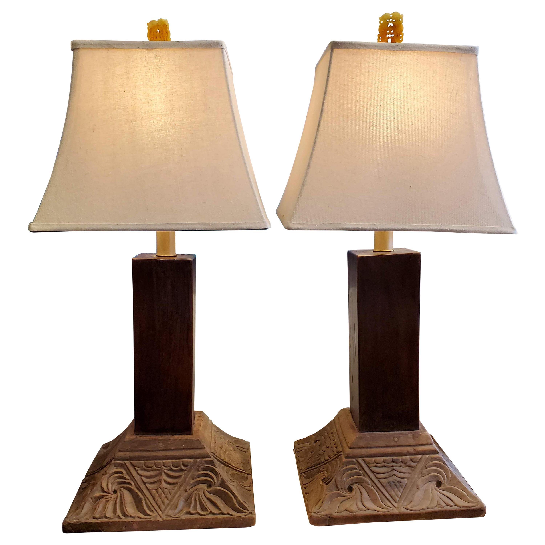Pair of 19th Century Indonesian Teak Column Base Table Lamps