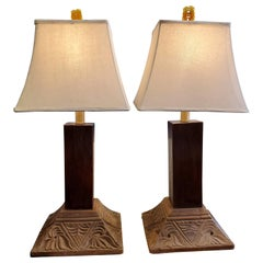 Pair of 19th Century Indonesian Teak Column Base Table Lamps with Linen Shades