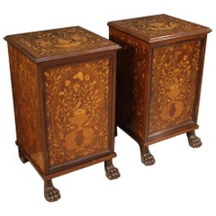 Pair of 19th Century Inlaid Wood Antique Dutch Nightstands, 1890