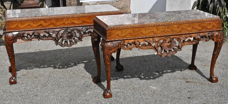 Carved Pair of 19th Century Irish Georgian Walnut Console Tables For Sale