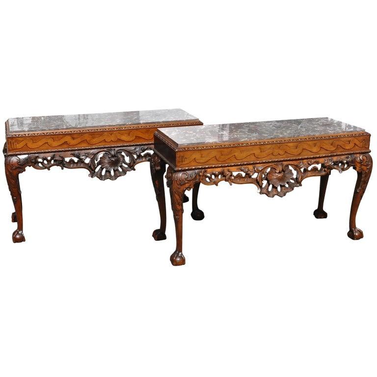 Pair of 19th Century Irish Georgian Walnut Console Tables For Sale