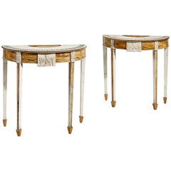 Pair of 19th Century Irish Marble Neoclassical Console Tables