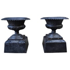 Pair of 19th Century Iron Urns