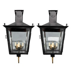 Pair of 19th Century Iron Wall-Mount Lanterns by Louis Sepulchre, Labeled