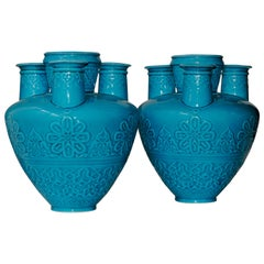 Pair of 19th Century Islamic Design Turquoise Blue Faience Tulip-Vases