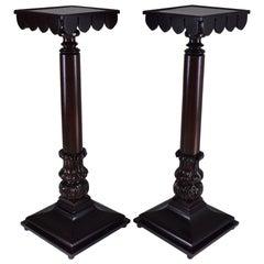 Pair of 19th Century Italian Antique Tall Mahogany Pedestals Columns
