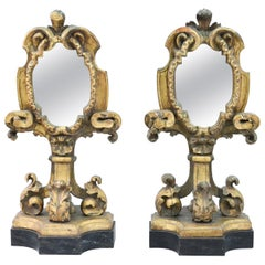 Pair of 19th Century Italian Appliqued Giltwood Architectural Pedestal Mirrors