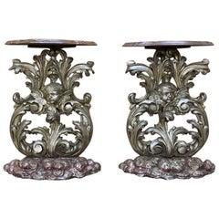 Pair of 19th Century Italian Baroque Giltwood Consoles