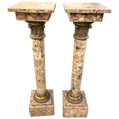 Pair of 19th Century Italian Breccia Marble Pedestals