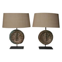 Pair of 19th Century Italian Bronze Architectural Element Lamps