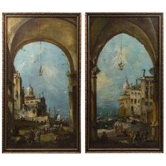 Pair of 19th Century Italian Capriccios of Venice
