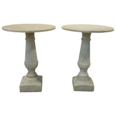 Pair of 19th Century Italian Carrara Marble Garden Tables