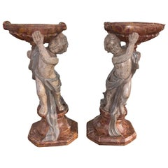 Pair of 19th Century Italian Carved and Painted Cherub Planters
